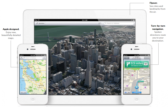 Apple Maps App on iPad and iPhone