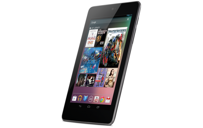 Google Nexus 7 tablet tilted