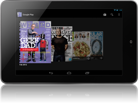 Nexus 7 with magazines