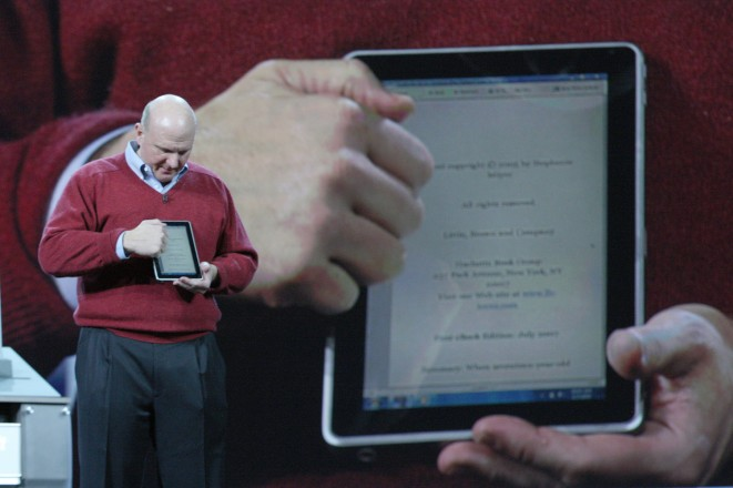 Steve Ballmer demonstrating a Windows Tablet