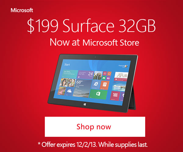 Microsoft Surface Cyber Monday 2013 Table Deal