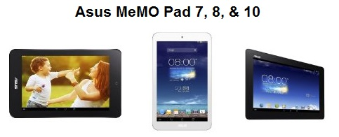 The present Asus MeMO Pad tablet line
