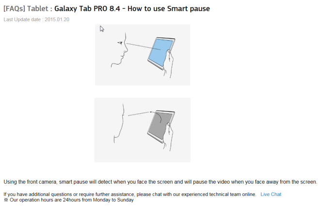 Samsung Galaxy Tab Pro 8.4 eye tracking features