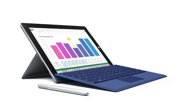 Surface 3 with blue keyboard