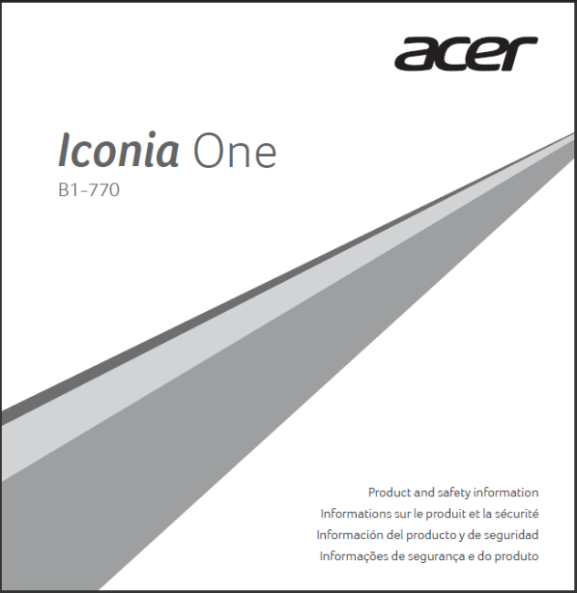 Front of the Acer Iconia B1-770 manual