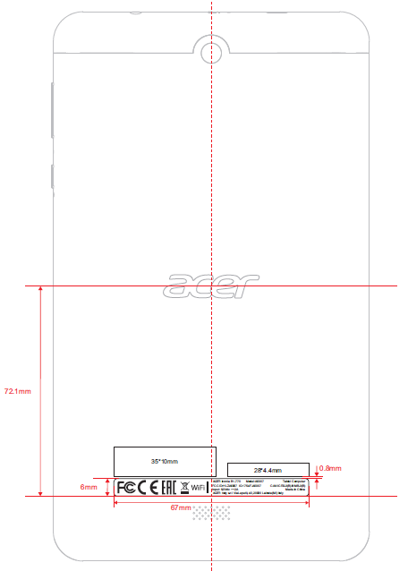 Acer Iconia One B1-770 FCC drawing