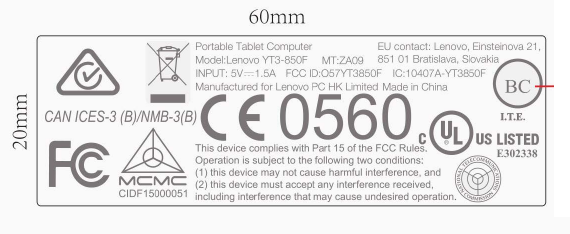 Lenovo Yoga Tablet 3 label