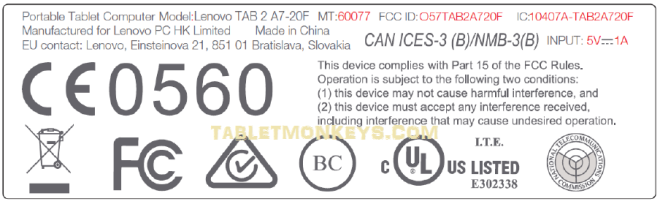 Lenovo Tab 2 A7-20F label at FCC