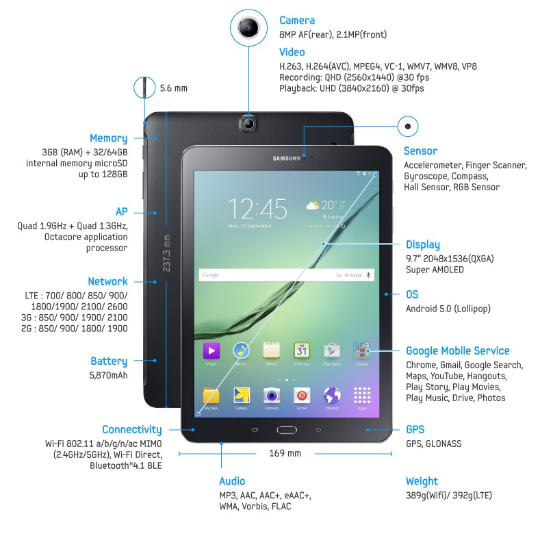 samsung galaxy tab s2 unveiled july 20 release sept 3. Black Bedroom Furniture Sets. Home Design Ideas