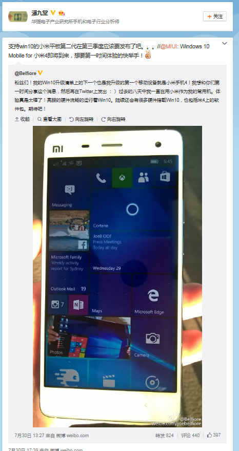 Windows 10 Mobile on Xiaomi Mi4