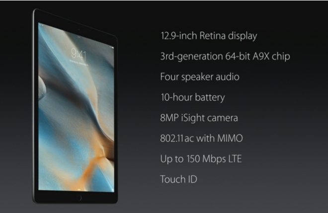 Apple iPad Pro main specs