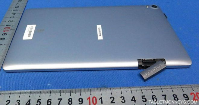 Lenovo TAB3 8 Plus TB-8703 with microSD card slot and SIM card slot open