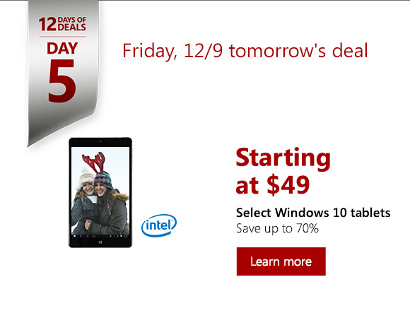 $49 Tablet - Windows 10 tablet - Microsoft Store 12 Days Of Deals 2016