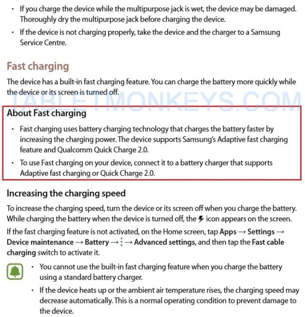 Samsung Galaxy Tab S3 Quick Charge 2.0