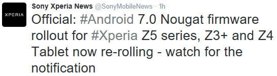 Sony Xperia Z4 Tablet Android 7.0 Update