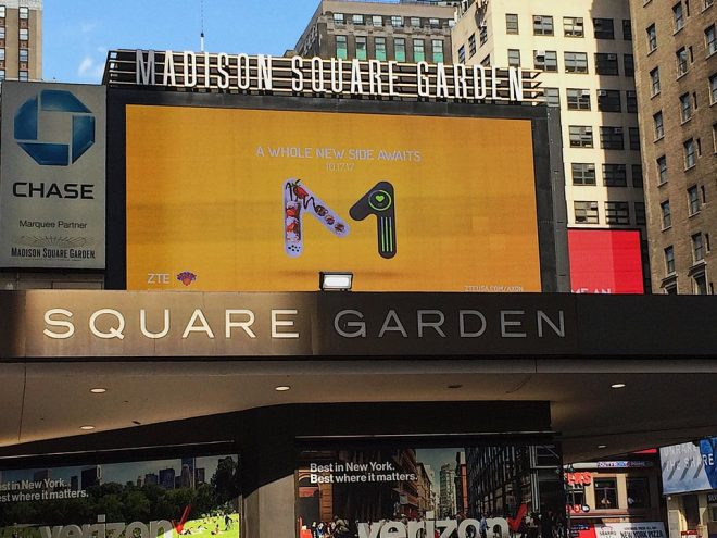 Revealing ZTE foldable phone banner outside Madison Square Garden