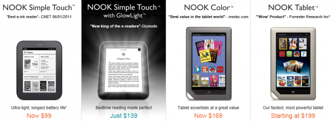 NOOK ereaders by Barnes and Noble