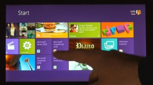 Windows 8 tablet fingertip swipe