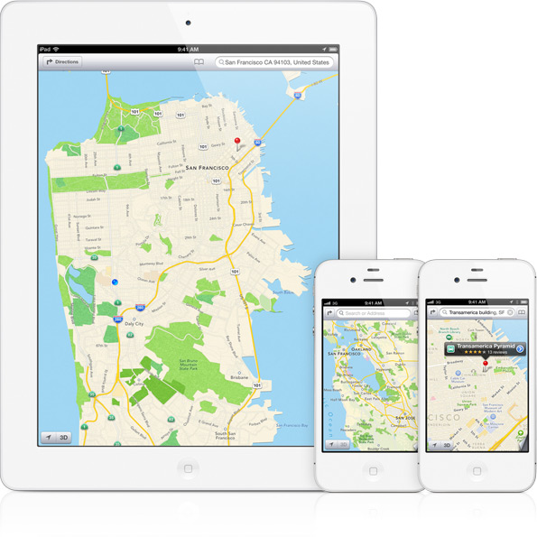 Apple Maps in map mode