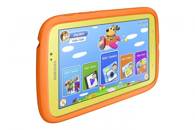 Samsung Galaxy Tab 3 Kids Edition in protective Orange Bumper Case