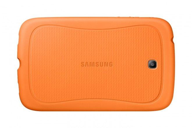 Samsung Galaxy Tab 3 Kids Edition rear with Orange Bumper Case