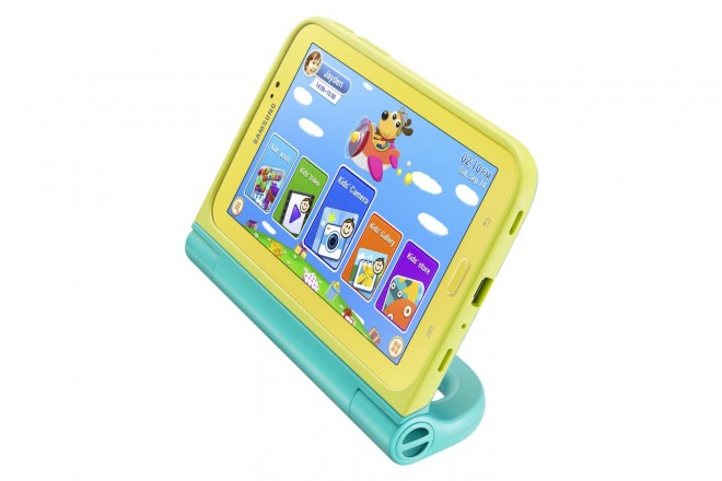 Samsung Galaxy Tab 3 Kids Edition with Blue Case kickstand feature