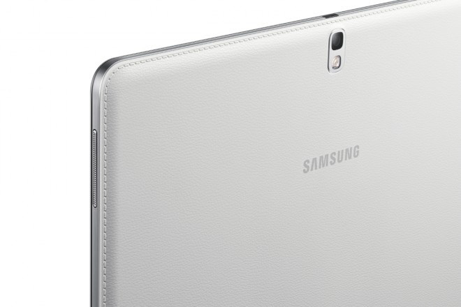 Samsung Galaxy Tab PRO 10.1 - in white, silver bezel, light grey leather