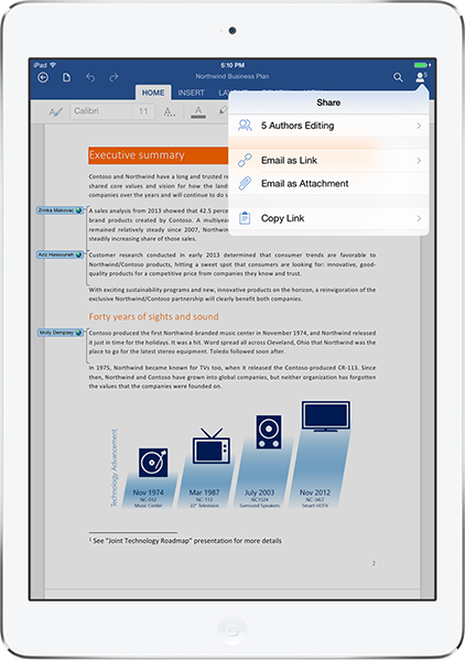 Office 365 with Word, Excel, and PowerPoint on iPad