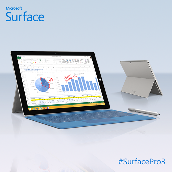 Microsoft Surface Pro 3 front and back