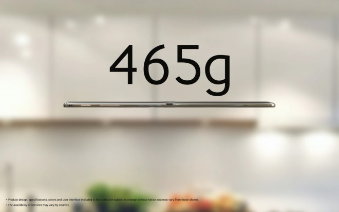 Samsung Galaxy Tab S weight