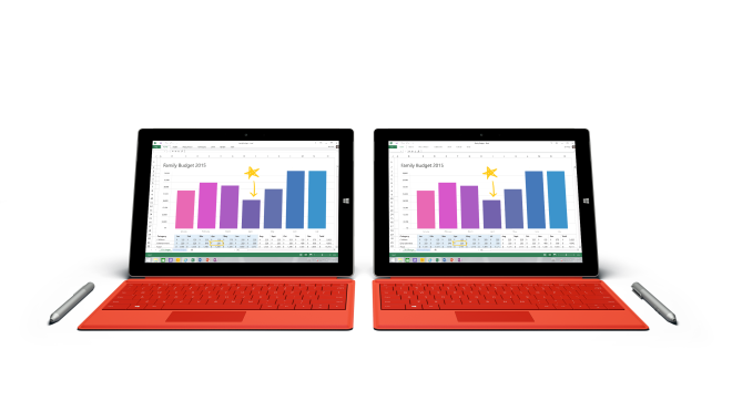 Two Microsoft Surface 3 side by side