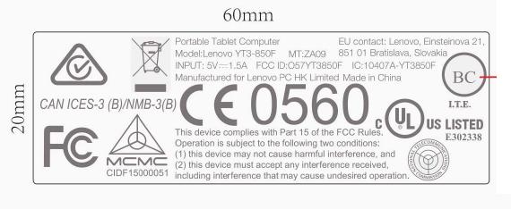 Lenovo Yoga Tablet 3 label