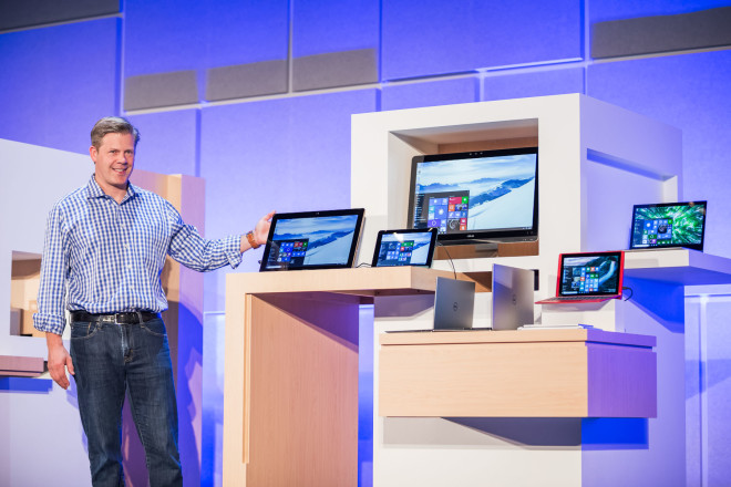 Nick Parker with the HP 2-in1 and other Windows 10 computers today