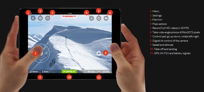 Parrot Bebop Drone tablet control