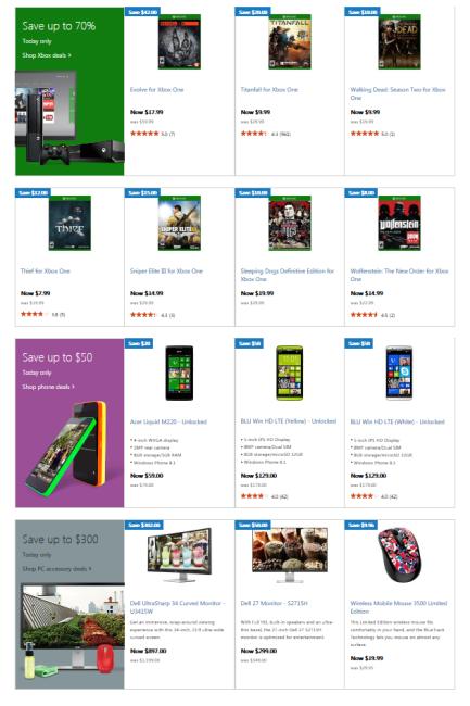 Xbox, Windows Phone 8.1, and monitor sale