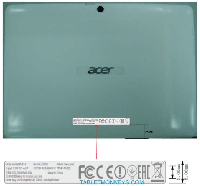 Acer Iconia One 10 (B3-A10) FCC