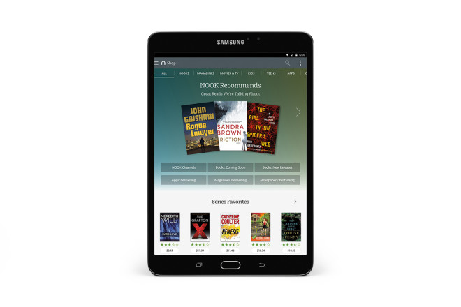 Samsung Galaxy Tab S2 NOOK shop screen