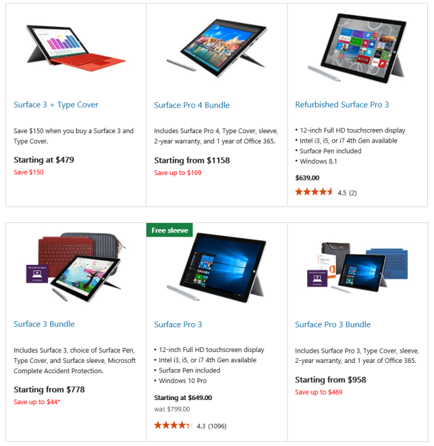 Microsoft Surface Cyber Monday Deals 2015