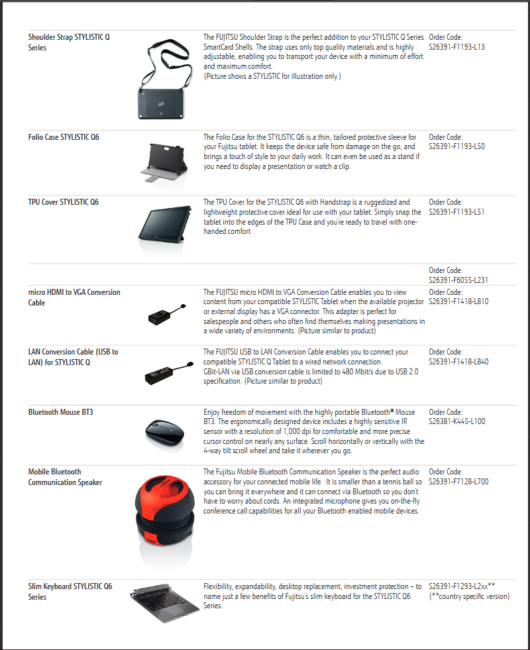 Tablet options and accessories