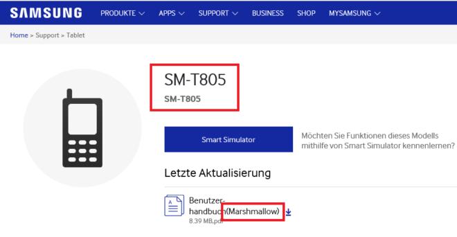 Screencap of SM-T805 on Samsung Germany