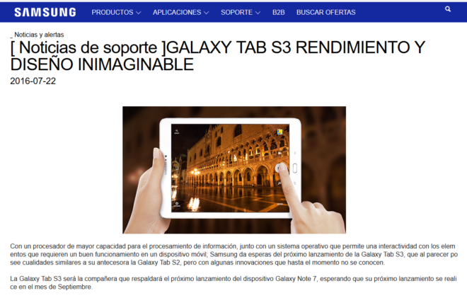 The screen capture from Samsung Colombia