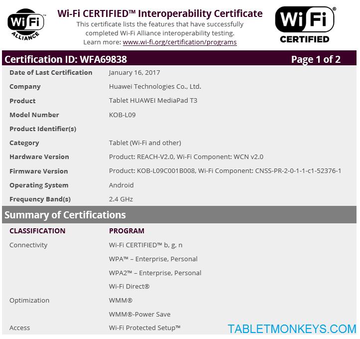 Huawei MediaPad T3 Leaks For 2017 In January