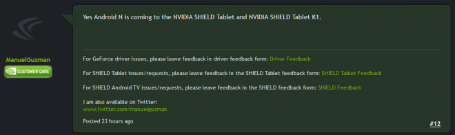 Nvidia Shield Tablet Android 7.0