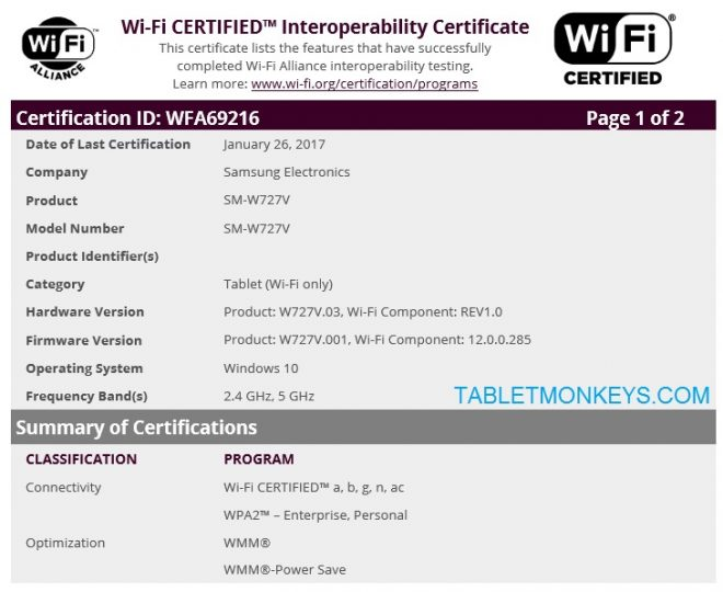 Samsung Galaxy TabPro S2 Leaks (SM-W720) (SM-W727)