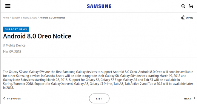 Samsung's Official Android 8 0 Tablet Update List For 2018 In North