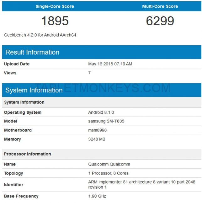 Samsung Galaxy Tab S4 Benchmark Scores SM-T835