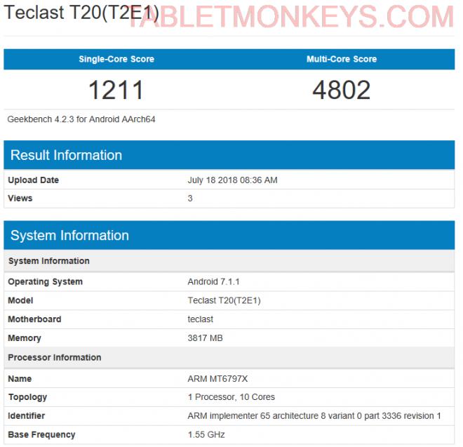Teclast T20 Benchmark Score
