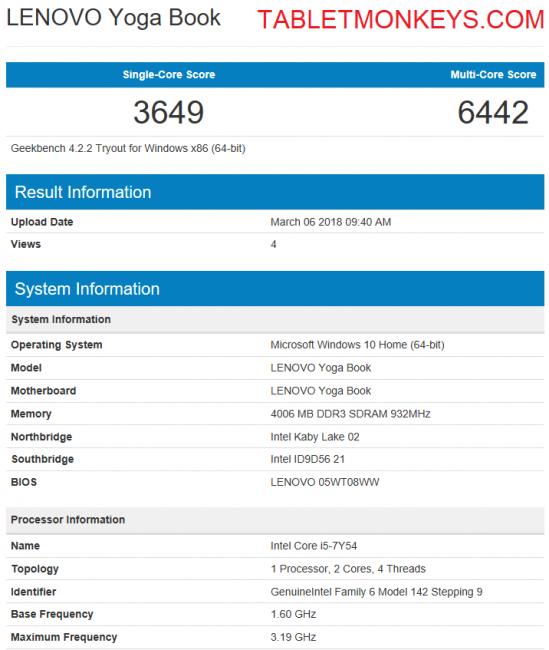 Lenovo Yoga Book C930 Benchmark Scores
