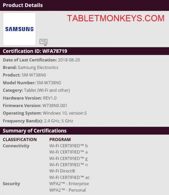 SAMSUNG GALAXY BOOK 12 II 2018-2019 MODEL SM-W738