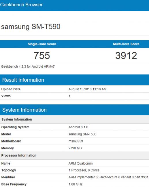 Samsung Galaxy Tab A 10.5 Benchmark Scores